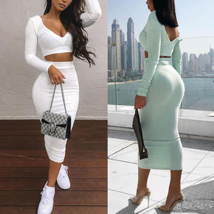Women Clothing Long Sleeve Autumn Sexy Midi Dress Bodycon Two Piece Set