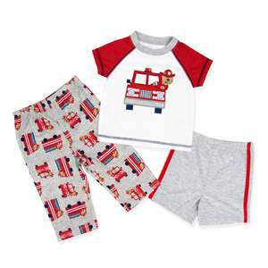 baby newborn pajamas pjs raglan shirt 3 piece set melange bear sleepwear for toddler boy
