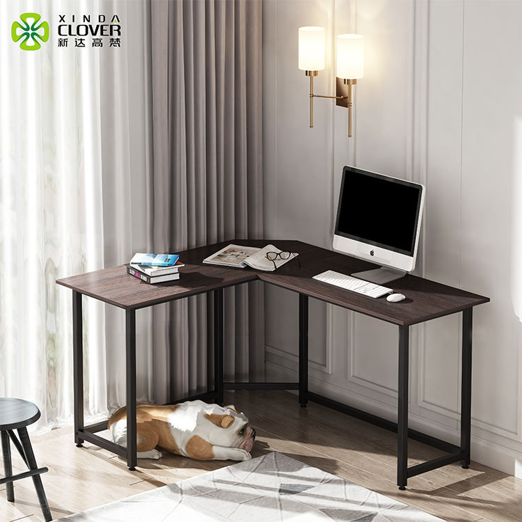 Modern l shape home office wood writing table computer desk set