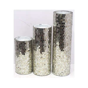 Set of 3 Pillar Mosaic Candle Holder for Home Decor