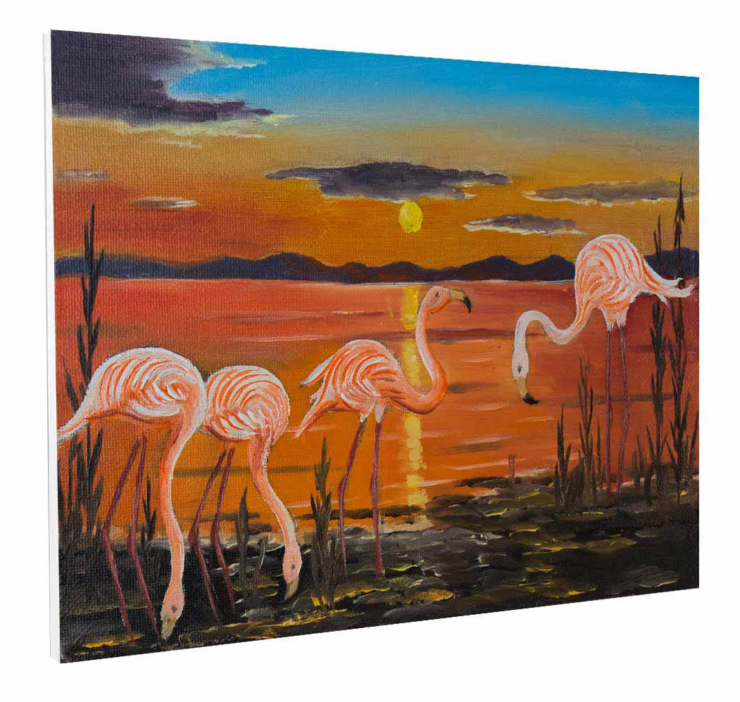 Animal painting four flamingos on a shore at sunset (113897116)wall pictures wall art living room