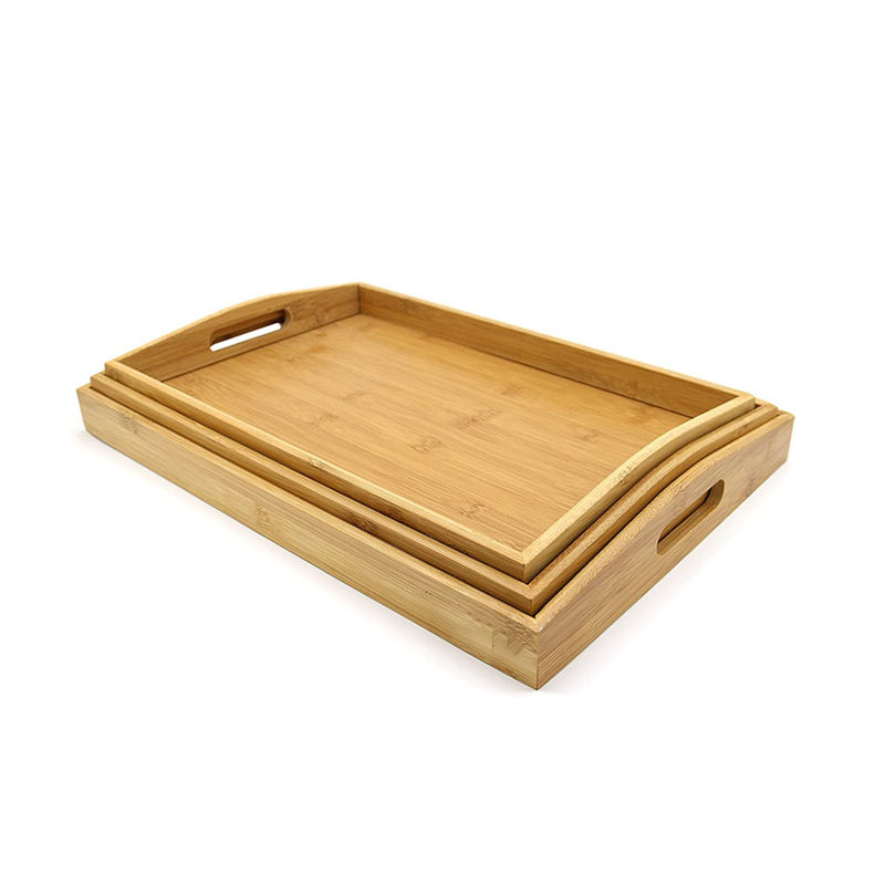 Wholesale Customized rectangle decorative natural WOOD Serving tray SET Bathroom Vanity Hotel Kitchen tray
