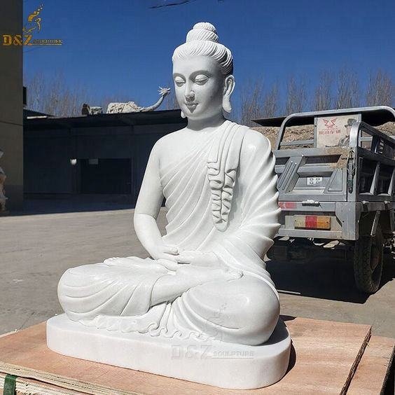 Custom Large Outdoor Carving Life Size White Stone Buddha Sculpture Sitting White Marble Buddhas Statues