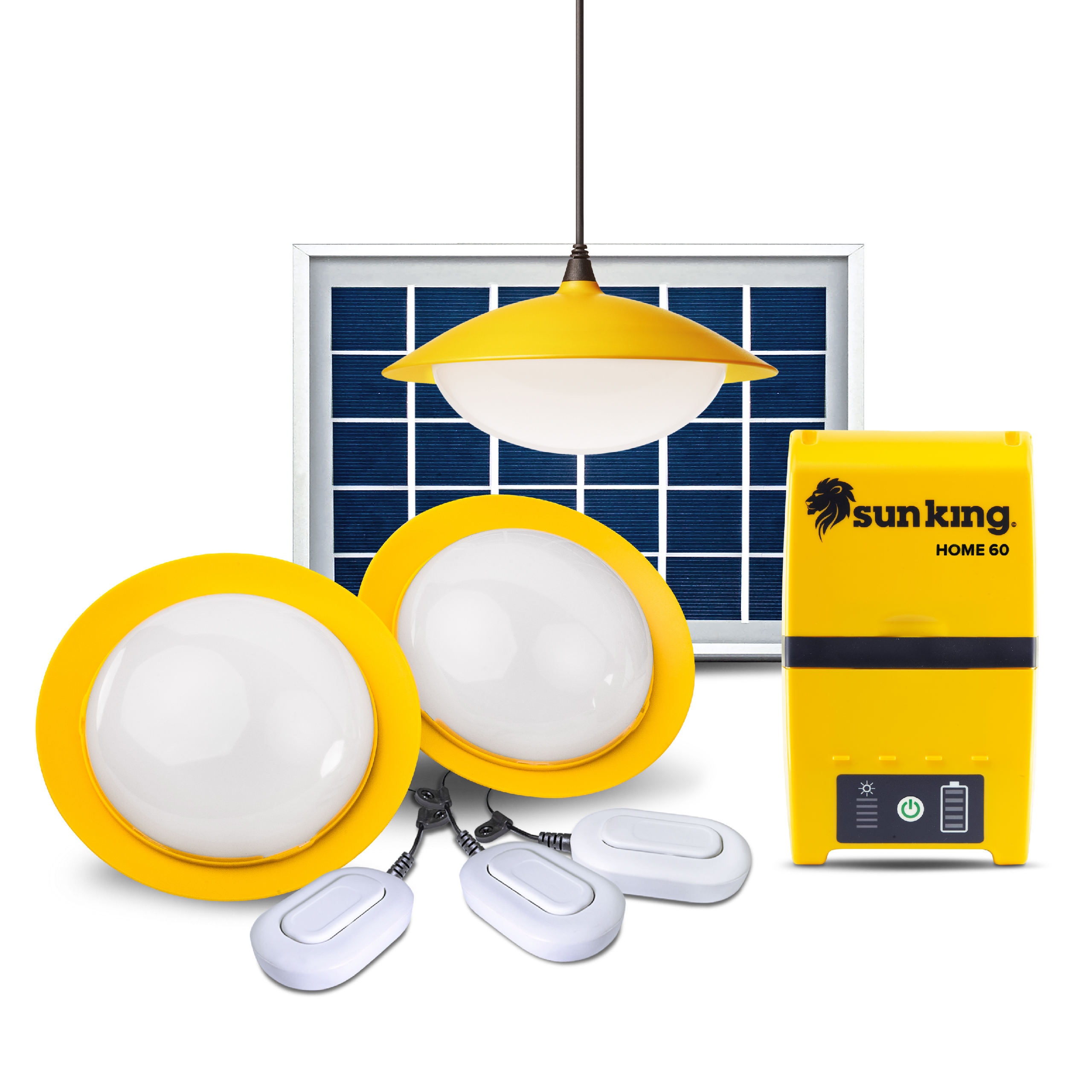 Solar lighting system for indoor with 3 hanging lights