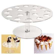 16 Holes Transparent Acrylic Buffet Cake Stand Ice Cream Cupcake Holder Wedding Birthday Christmas Party Dessert Display Stand