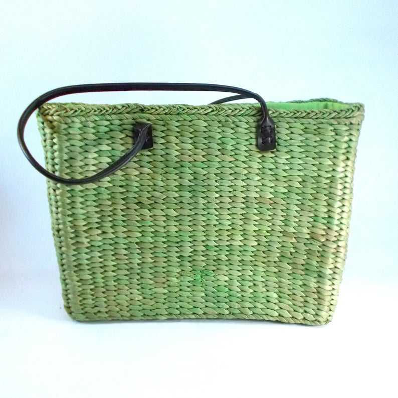 Straw basket bag Large Green bag