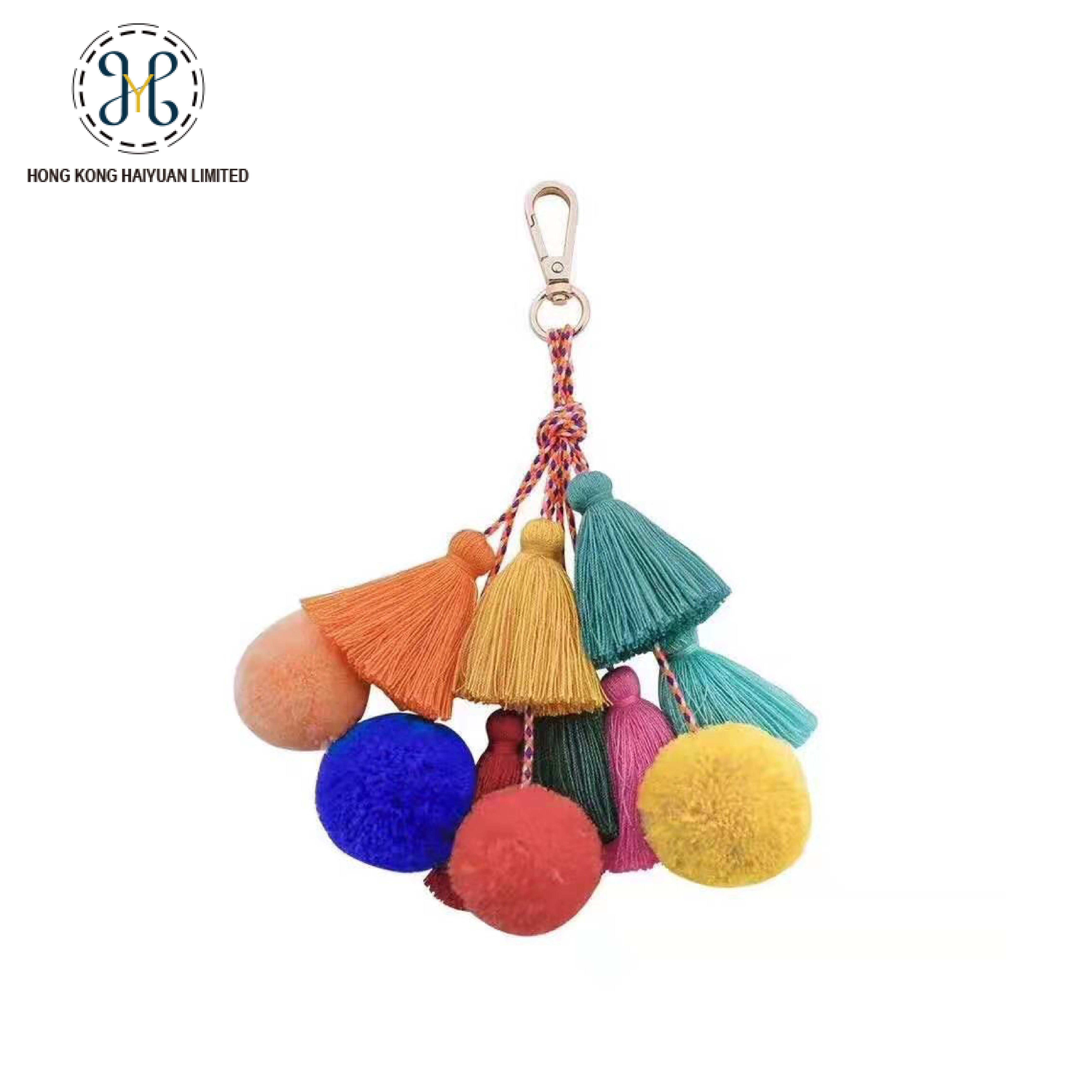 Multi Color POMPOM Tassel Keyring Handbag Home Decorate