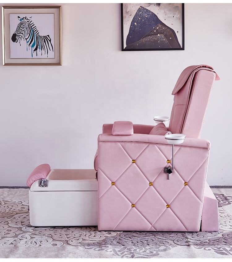 Foshan Factory Wholesale Cheap Price With High Quality Hot Pink Luxury Massage Footsie Bath Spa Pedicure Chair For Sale