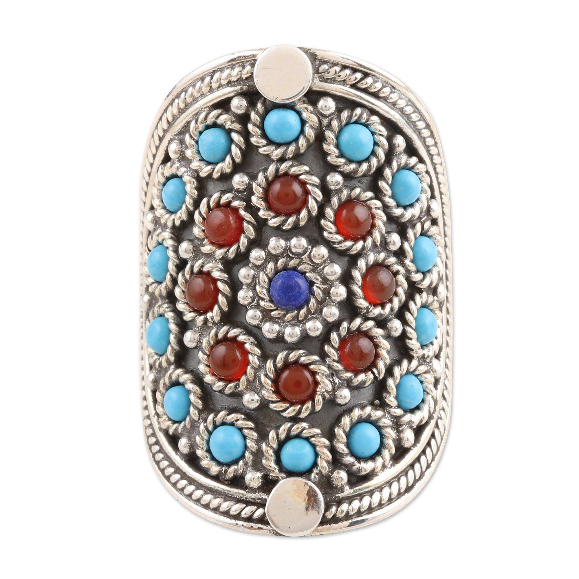 Turquoise, lapis lazuli, carnelian multi gemstone ring solid 925 sterling silver rings jewelry manufacturer
