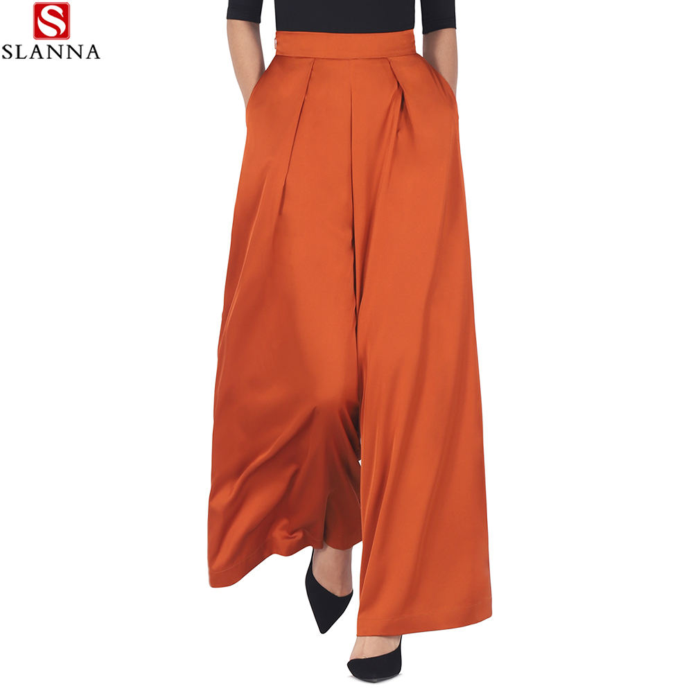 Slanna Women Wide Leg Pant Casual Straight Ankle-Length Summer OL Female Elegant High Waist Satin Print Thin Pants Trousers
