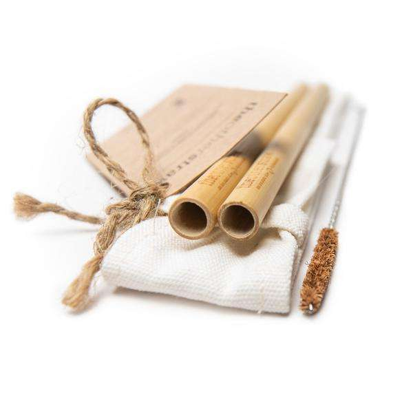 Bamboo straws with straw clean brush pack/ Custom logo cotton bags for bamboo straws set with coconut fiber bristle cleaner