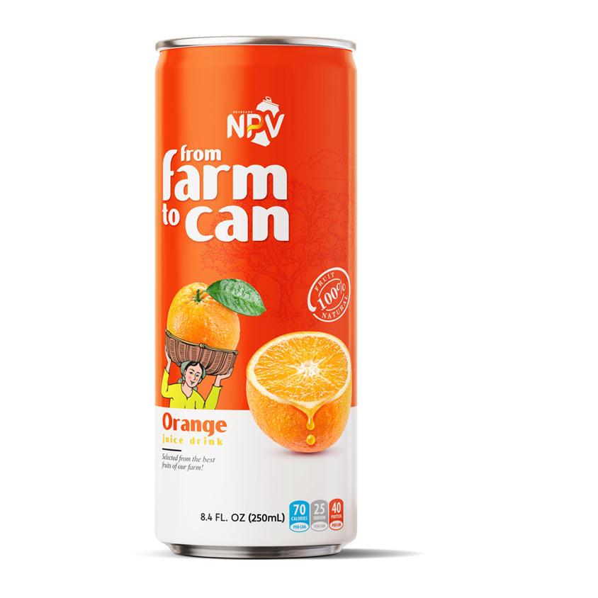 Vietnam Fruit Juice Drink Free Products Sample Free Label 250ml Alu Can Pure ORANGE JUICE DRINK