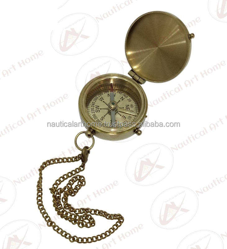 Nautical Brass Flat Compass with Chain - Collectible Vintage Pocket Compass Gift - Marine Magnetic Compass
