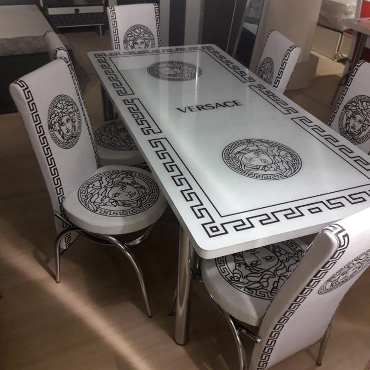 Extended dining table +6 chairs set glass face smart furniture saving space