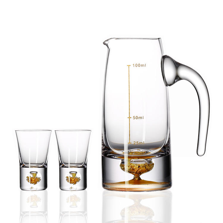 Floating Gold Flakes Clear Shot Glass Wine Cup Set