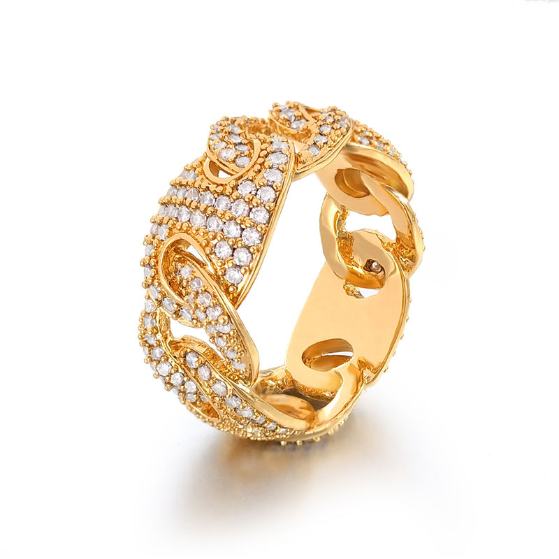 Zuanfa Jewelry Hollow Style Hip Hop Bling Men Ring Shining CZ Iced Out Gold Ring