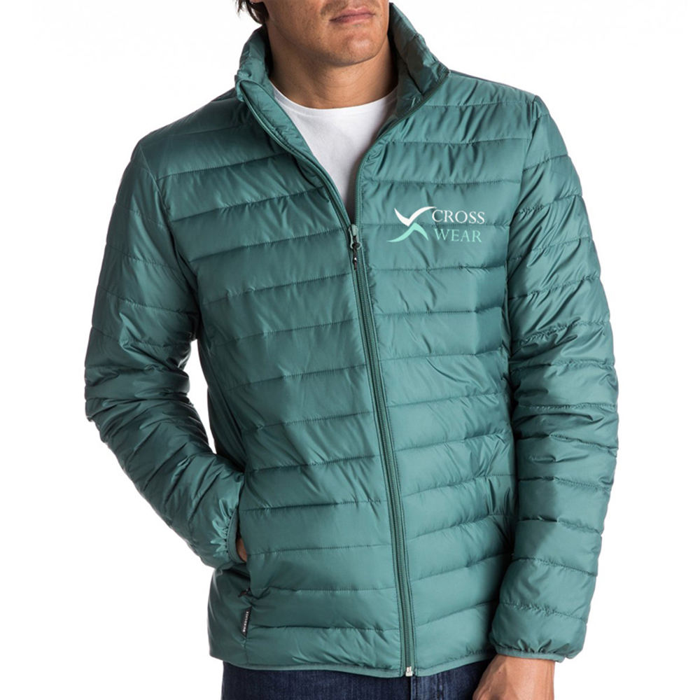 Factory Manufacturer Men Quilted Bubble Jackets Turn Down Collar Long Sleeve Waterproof Coat