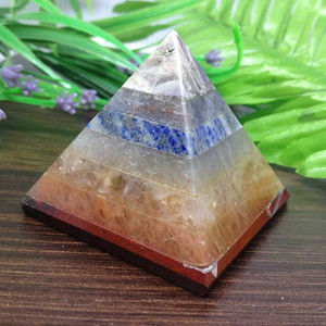 Bonded Chakra Pyramid For Reiki Healing And Crystal Grid, Layered Chakra Pyramid