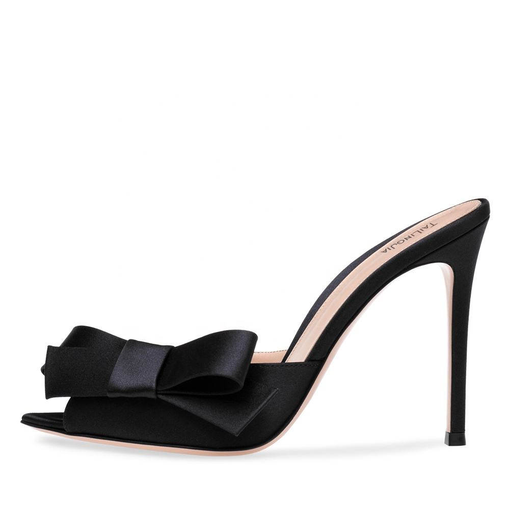 Ladies Summer Party Heels 2020 Evening Dress Heeled Shoes Large Size Women Open Pointed Toe Black Satin High Heel Mules with Bow