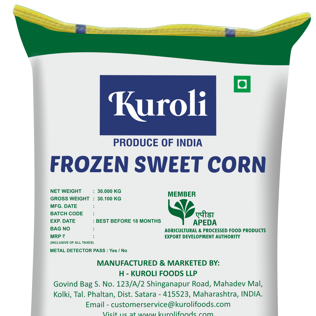 Frozen Sweet Corn in Bulk Quantity for use as Food Ingredient