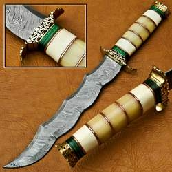 Beautiful handmade Damascus Steel sword with bone handle (Also Customize your logo)