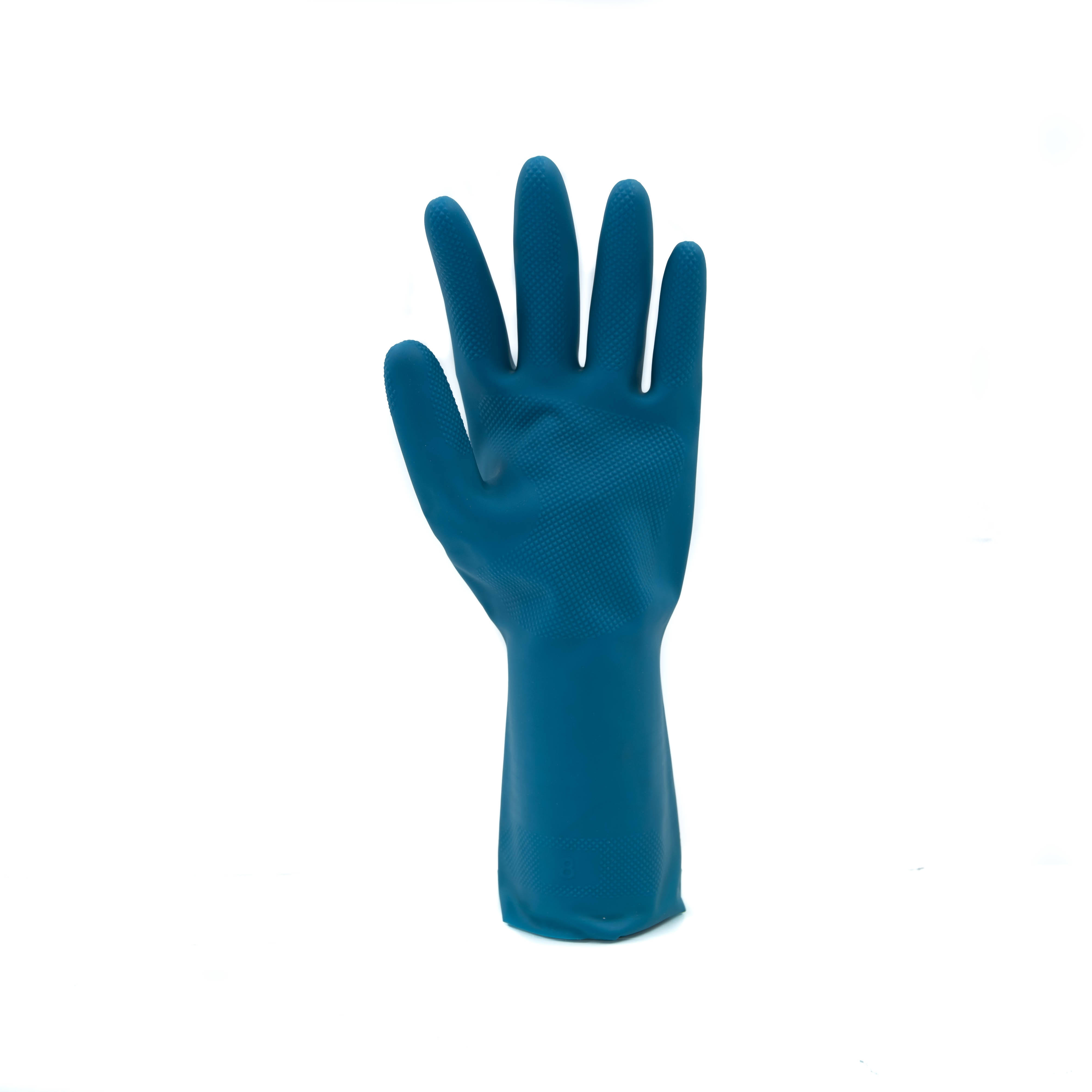 Food grade blue unlined dipped rubber gloves guantes de goma de malasia for food manufacturing fish filleting fisheries canning