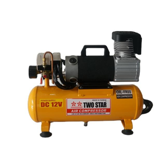 12V High Efficiency Long Duty Cycle DC Oil Free Solar Powered Mini Air Compressor with 8 liters tank & low pressure auto cut off