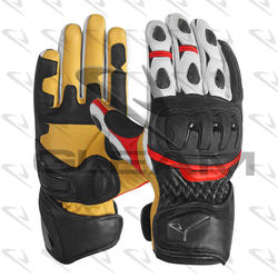 Men Motorbike Leather Gloves Racing Leather Gloves Black + white + red