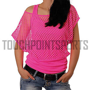 Smile Fish Women Casual Sexy 80s Costumes Fishnet Neon Off Shoulder T-Shirt