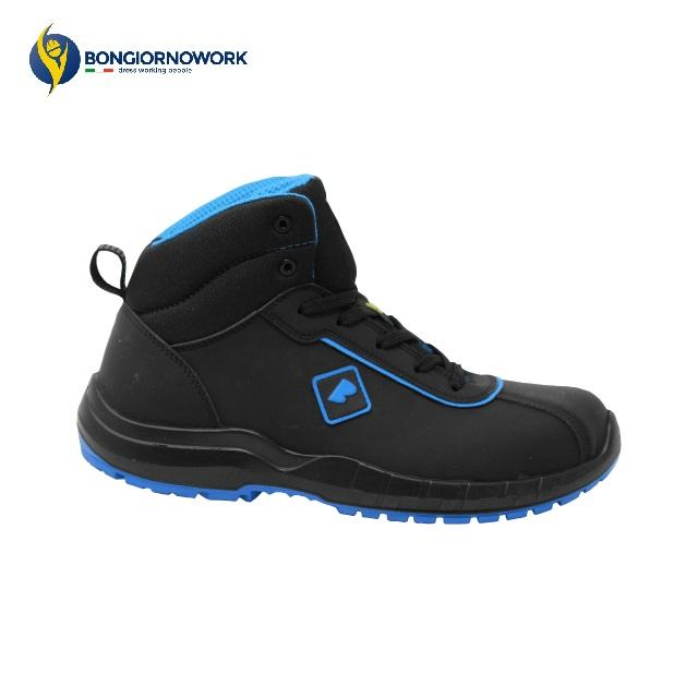 MADE IN ITALY WATER RESISTANT NABUK FERRULE GLASS FIBER 200J HIGH SAFETY BLACK BLUE SHOES