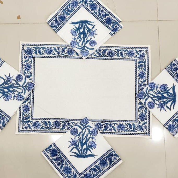 Hand Block Print Table Mat Set With Napkin