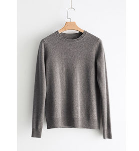 women custom wool cashmere crew neck pullover knitted sweater