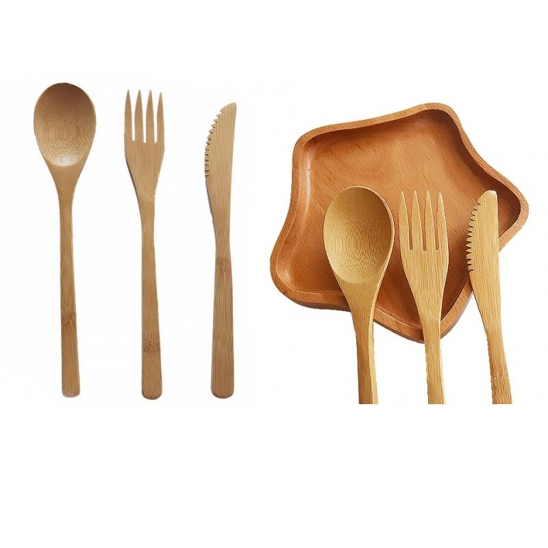 Bamboo wooden spoon fork and knife cutlery set eco friendly utensils with customized logo private brand