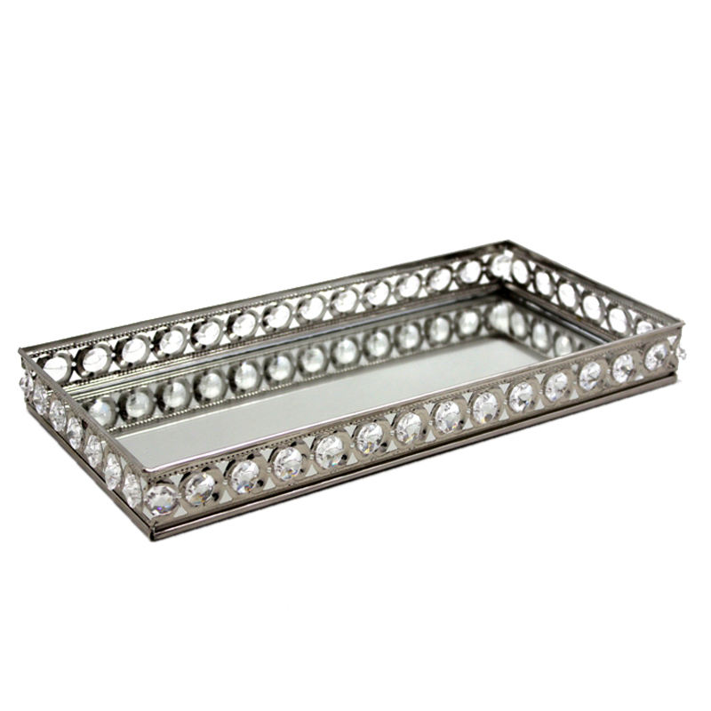 Nickel Plated Elegant Rectangle Mirror Tray Platter