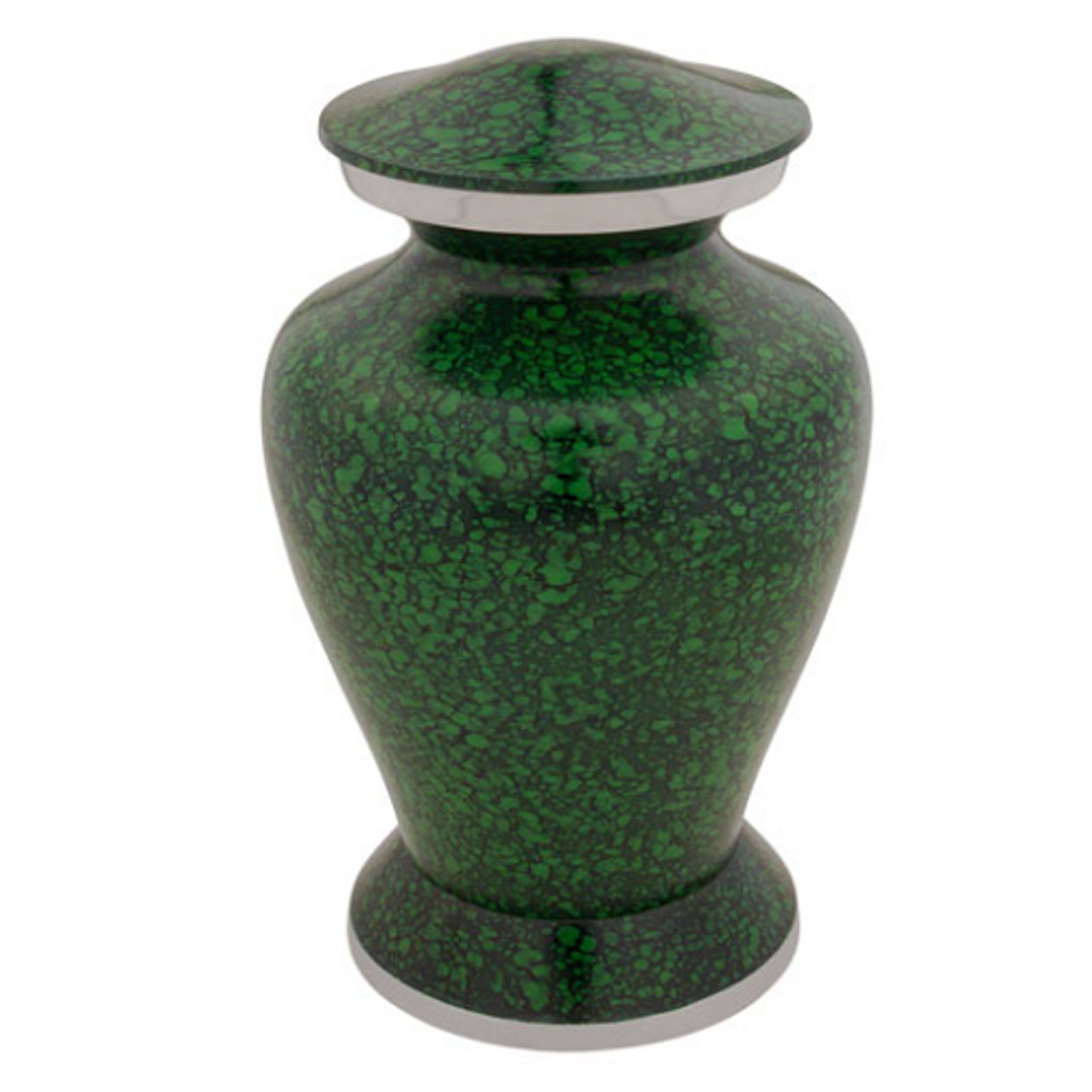 Marbled Dark Green Cremation Urn with pewter finish