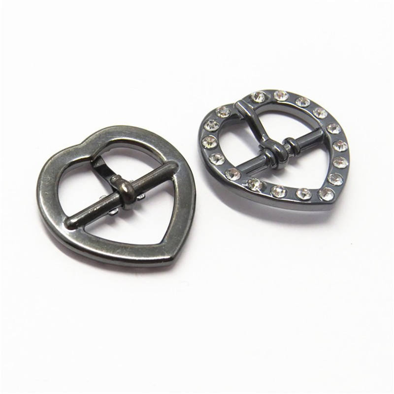 Eco Friendly Heart Design Alloy Metal Buckle with Rhinestone for Bags