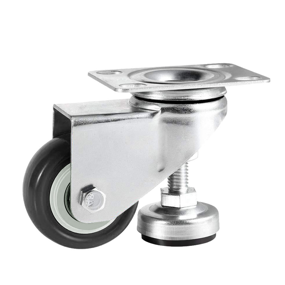 1.5 Inch Leveling Caster Wheels - Swivel Black Polyurethane Wheels with Adjustable Leveling Foot