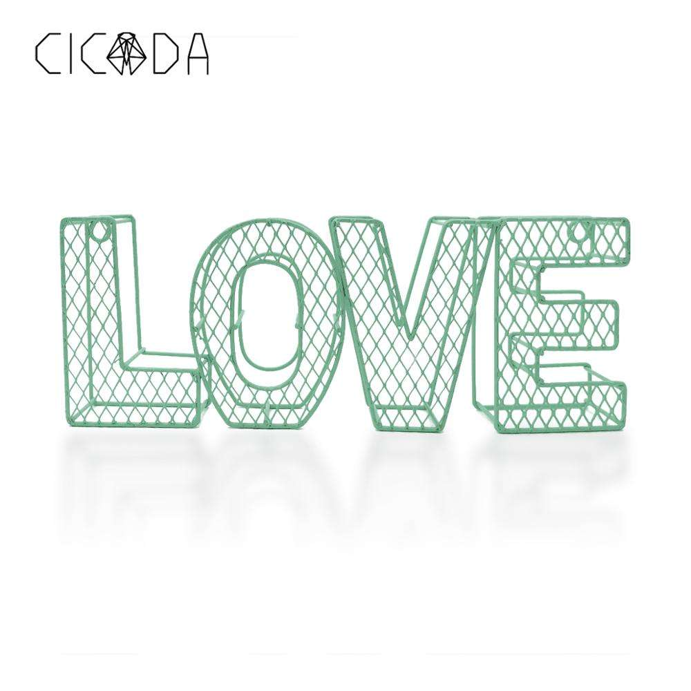 CICADA Lifestyle Craftwork Decoration Tiffany Blue Wire Love Decorative Sign Wall Art