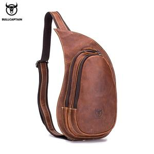 BULLCAPTAIN Leather Crossbody Bag for Men Messenger Crazy Horse Leather Chest Bag Casual Shoulder Strap Pack 2020New Fashion