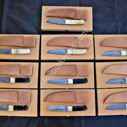 Lot of ( 10 ) Handcrafted Damascus Steel  Hunting Knife for Resales