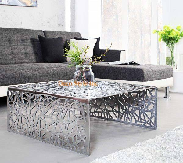 Silver modern coffee table Aluminium silver coffee table