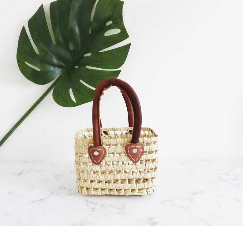 Hand made woven Moroccan Basket hand bag