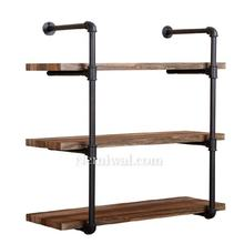 Industrial Vintage Pipe Shelf Wall Bookshelf, Black cast iron pipe fitting designed