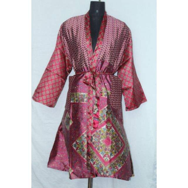 Vintage Patchwork Art Silk Kimono Beach Wear Maxi Dress