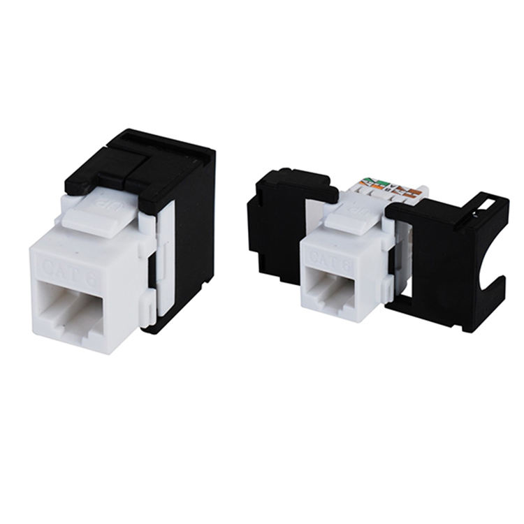 High Quality Face Plate Toolless Keystone Jack 180 Degree Cat6A UTP RJ45 Modular Jack