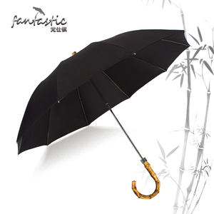Personalizado Sustentável ECO Material Natural Clássico Alça De Bambu Guarda-chuva Dobrável Manual Bandido Gancho Real