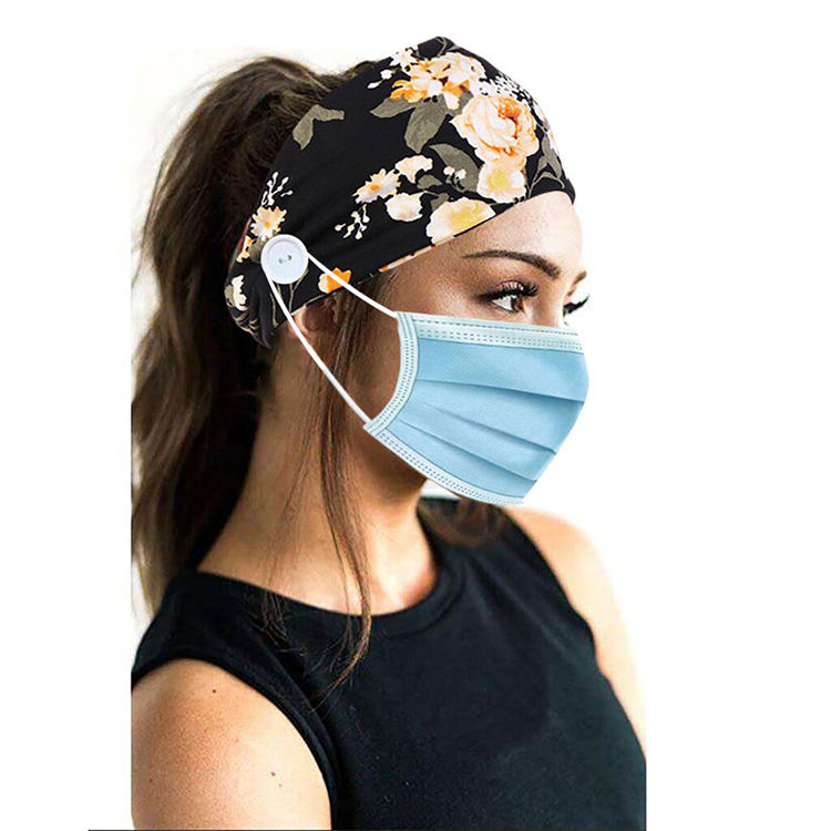 Fashion floral print nurse ear saver headband ,yoga stretchable head wrap, bouquet print jersey headband with buttons