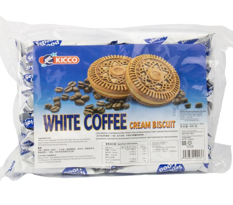 Kicco Malaysia White Milky Coffee Cream Filled Sweet Sandwich Biscuit Halal15 months shelf life bag packaging