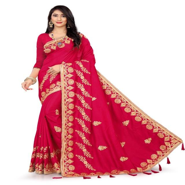 Red Colors Women's Poly Silk Embroidery Stone Work Saree With Unstitched Blouse (Free Size )