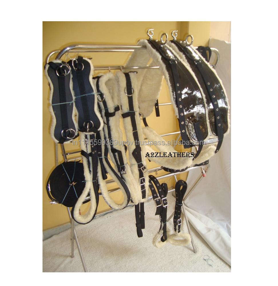 Black Synthetic Patent Driving Harness For Double Horse Cart
